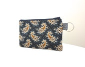 Blue Paisley Zippered Bag / Coin Purse / Id Case / Gadget Pouch with Split Ring - READY TO SHIP