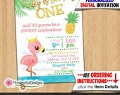 Printable Flamingo Birthday Invitations Pink and Gold girls Watercolor Tropical turning one 1st first Personalized DIGITAL INVITATION 353