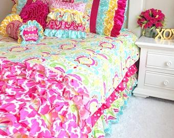 Kumari Garden Children's Bedding, Girl Bedding, Twin Bedding for Girls, Twin Duvets, Twin Girl Bedding Sujata Pink, Big Kid Bedding
