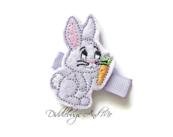 Lavender Bunny Hair Clip, Bunny With Carrot Hair Clip, Girls Bunny Hair Clip, Bunny Hair Clips For Girls, Easter Hair Clip, Bunny Clip