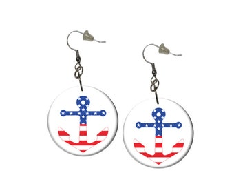 Anchor Earrings Patriotic Earrings Stars and Stripes Earrings Red White and Blue Dangle Earrings 4th of July Memorial Day Labor Day Picnic