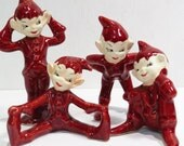 Set of 4 Gilner Pottery Red Elves Vintage 1950s Christmas Decoration Pottery Pixies