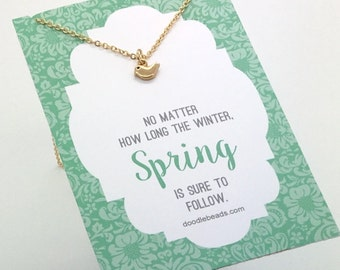 "silver or gold Bird Necklace- Tiny bird charm necklace - choose carded ""... Spring is sure to follow"" - or in a silver gift box"