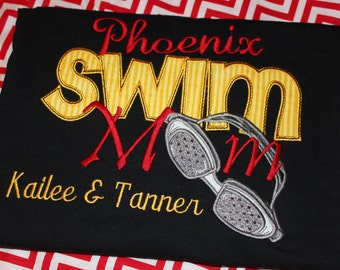 Swim MOM adult shirt- any school.  You choose colors and fabric