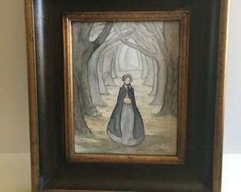 Returning from Milcott.  Jane Eyre Original Watercolor Painting. Watercolor on Watercolor Canvas. 8x10 Inches. Framed.