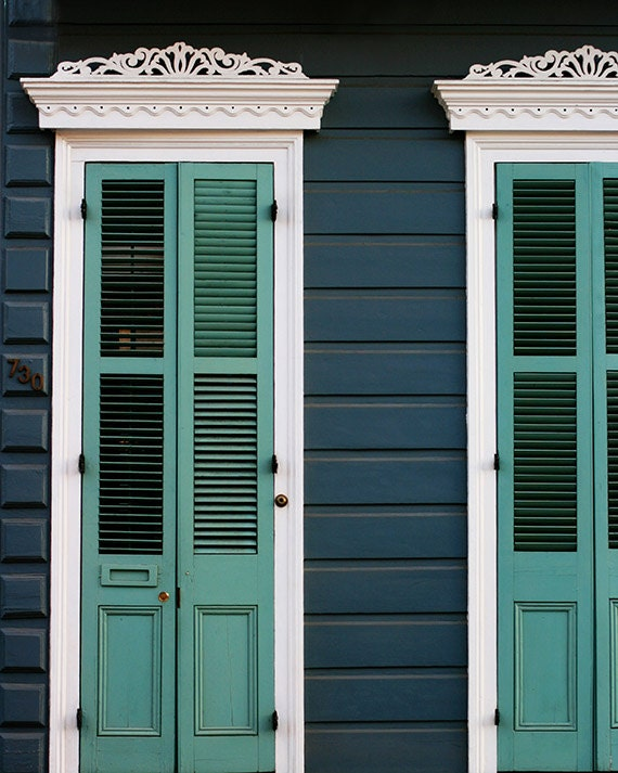 "New Orleans Photograph ""Creole Cottage"". Affordable Door Photography, Wall Art, Home Decor. Mardi Gras. French Quarter Turquoise Shutters"
