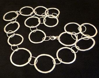 Silver Hoop Necklace // Hammered Hoop Necklace // Hammered Silver Hoop Necklace