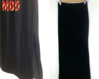 90s Black Velvet Club Kid Maxi Long Skirt with Slit!