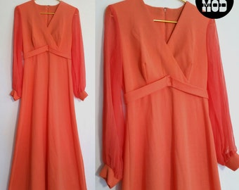 Vintage 60s 70s Coral Orange Maxi Dress with Sheer Sleeves - Super Pretty!