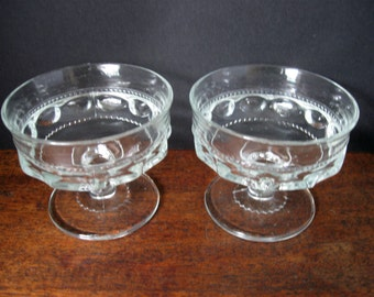 Set of Two (2) Clear King's Crown Thumbprint Sherbets/Dessert Bowls