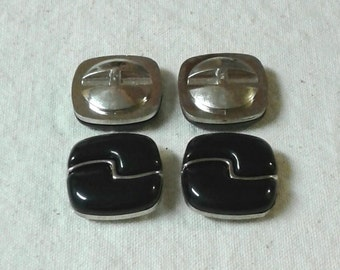 SALE -  Vintage Black and Silver Plastic Buttons - Set of 4