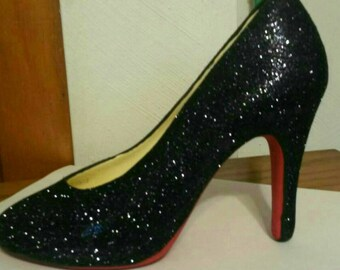 Ceramic High Heel Shoe - Red Bottom with Black Glitter