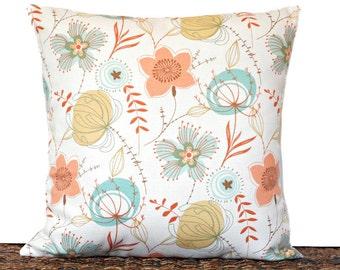 Mod Floral Pillow Cover Cushion Retro Beige Turquoise Peach Mustard Rust Cinnamon Brown Decorative 18x18