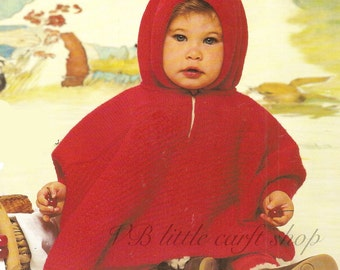 Toddlers poncho knitting pattern. sizes: 6-9months and 12-18month. Instant PDF download!