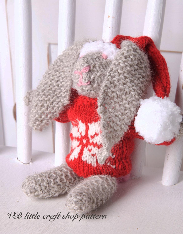 Knitting Patterns Rabbit Soft Toy : Christmas bunny rabbit soft toy knitting pattern instant