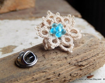 for HIM or HER tie pin - FLOWER - handtatted italian lace - cream
