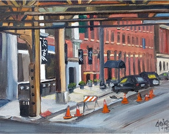 Chicago River North Gallery District Plein Air - 10x8in Original Oil Painting