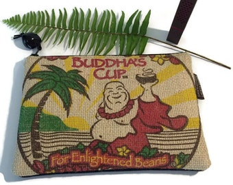 Buddha iPhone Case and Denim Padded Zipper Pouch. Repurposed Buddha's Cup Burlap Coffee Bag. Handmade in Hawaii.