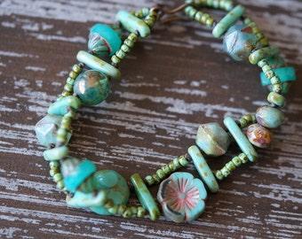 Ladder Bracelet - Turquoise Bracelet - Beaded Turquoise Bracelet - Eclectic Jewelry - Boho Turquoise Bracelet - Bead Soup Jewelry