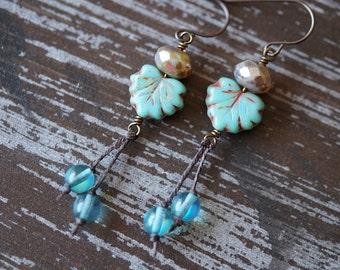Maple Leaf Earrings - Turquoise Earthy Earrings - Aqua and Beige - Rustic Woodland Earrings - Bead Soup Jewelry