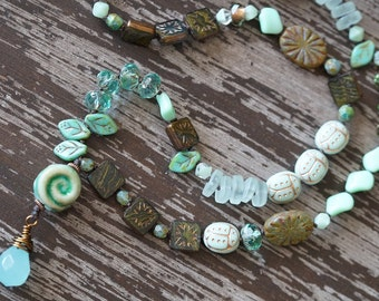 Asymmetrical Necklace - Boho Knotted Necklace - Mint Green - Green Necklace - Earthy Necklace - Leaves - Beach Glass - Bead Soup Jewelry