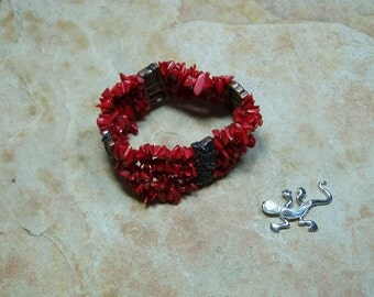 Natural AAA Grade Red Coral Chips Stretch Bracelet
