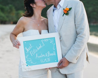 Wedding Chalkboard 11 x 14-Aqua Blue-Beach Weddings, Beach Home Decor, Starfish Home Decor, Mermaids, Beach Home Decor, Hostess Gifts