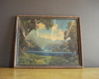 Once Upon a Lake - Vintage Framed Print - Antique Framed Mountain and Lake Landscape Illustration - Old Wooden Frame