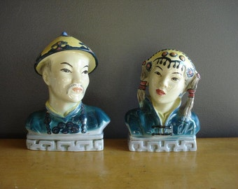 Bookshelf Busts - Vintage Ceramic Goldscheider Everlast Corp. Busts - Man and Woman Statues or Figurines