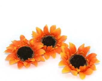 3 Orange Yellow Sunflowers - Artificial Flowers, Silk Flower Heads