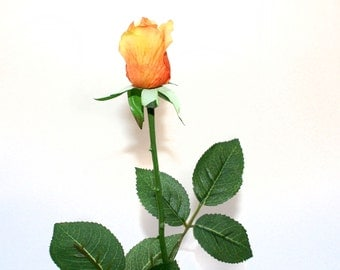 Light Orange Gina Rose Bud - Barely Blooming - Artificial Flowers, Silk Roses - PRE-ORDER
