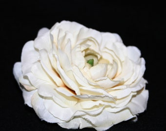 1 Cream Silk Ranunculus - Artificial Flowers, Silk Flower Heads - PRE-ORDER