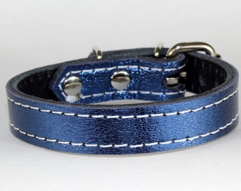 "Blue Leather Cat Collar - Genuine Napa Leather Cat Collar - 3/4"" Genuine Leather Collar - Blue Italian Leather - Made In Usa"