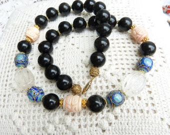 Antique Carved Chinese Coral and Rock Crystal Shou Beads, Mandarin Court Beads Necklace