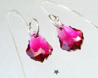 Sexy Earrings, Threader Earrings, Swarovski French Baroque Pink Earrings,  Long Dangle Earrings, Silver Threader Earrings, Feminine Romantic