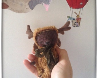 HOT JULY SALE 4 inch Artist Handmade Teddy Bear in Moose's suit by Sasha Pokrass