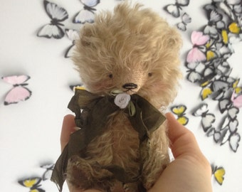 4,5 inch Artist Handmade Mohair Pocket Sized Miniature Fluffy Teddy Bear Leo by Sasha Pokrass