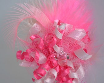 Pink Feather Fascinator Dog Hair Bow