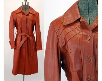 1970s leather coat burnt orange pumpkin color belted boho hippie coat Size M