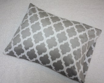 "Small Pillowcase for 12""x16"" Pillow- Gray Quatrefoil Pattern-Soft N Comfy- Toddler Pillowcase- Small Pillowcase- Nap Mat- Travel Pillow"