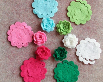 North Pole - 3D Rolled Roses - 24 Die Cut Wool Blend Felt Flowers - Unassembled Rosettes