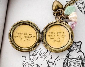 Women's Locket - Friendship Jewelry - Winnie the Pooh Quote - Piglet and Pooh - How do you spell love, you don't spell it you feel it