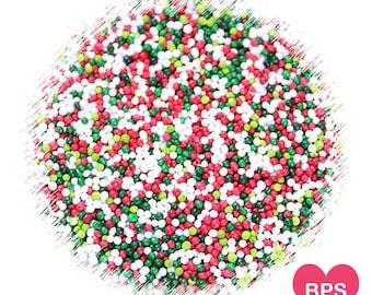Merry Christmas Nonpareils Sprinkle, Christmas Sprinkles, Christmas Cookie Sprinkles, Holiday Sprinkles, Edible Sprinkles, 100's & 1,000's