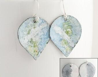 Watercolor Blue/Green reversible Black/WhiteEnamel Earrings - OOAK