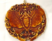 Moth Pendant Molded in Antiqued Bone
