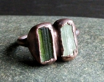 Tourmaline Ring Rough Stone Jewelry Dual Stone Size 5.5 Ring Raw Crystal Gemstone Copper Ring