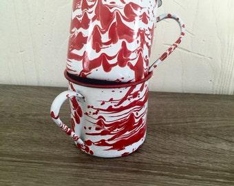 Vintage Red Enamel Mugs - Set of 2