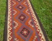 Extra Long Runner Maimana kilim/rug/carpet. Natural Wool. Handwoven. 13 ft  x 2 ft 9. 395 x 85 cm.