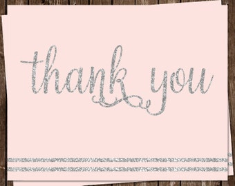 Glitter, Thank You Cards, Baby Shower, It's a Girl, Pink, Silver, Sparkle, Stripes, Blush, Set of 24 Folding Notes, FREE Shipping, ITGRL