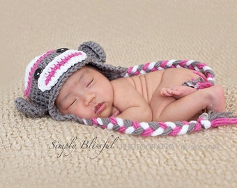 Sock Monkey Earflap Hat, Pink Monkey Hat, Baby Girls Hat, Baby Winter Hat, Newborn Hat Prop, Baby Photo Props, Toddler Monkey Hat, Baby Gift